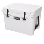 The YETI Tundra 35 is portable enough for one person to haul while still having an impressive carrying capacity. Holds 20 cans with recommended 2:1 ice-to-contents ratio.  Easy to carry with small footprint for easy storage Secure on deck for a great casting platform